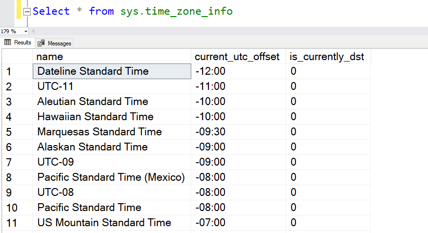 A query example using sys.time_zone_info