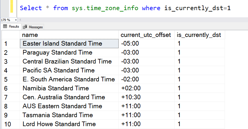 Filtering time zones by daylight savings in SQL Server using the SQL Convert date function.