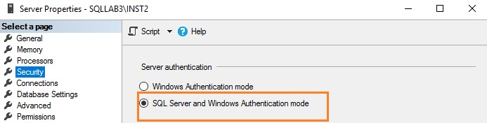 SQL Server security, verifying the server authentication model.