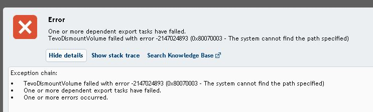 Virtual standby to ESXi 6 host failed - - Rapid Recovery Forum