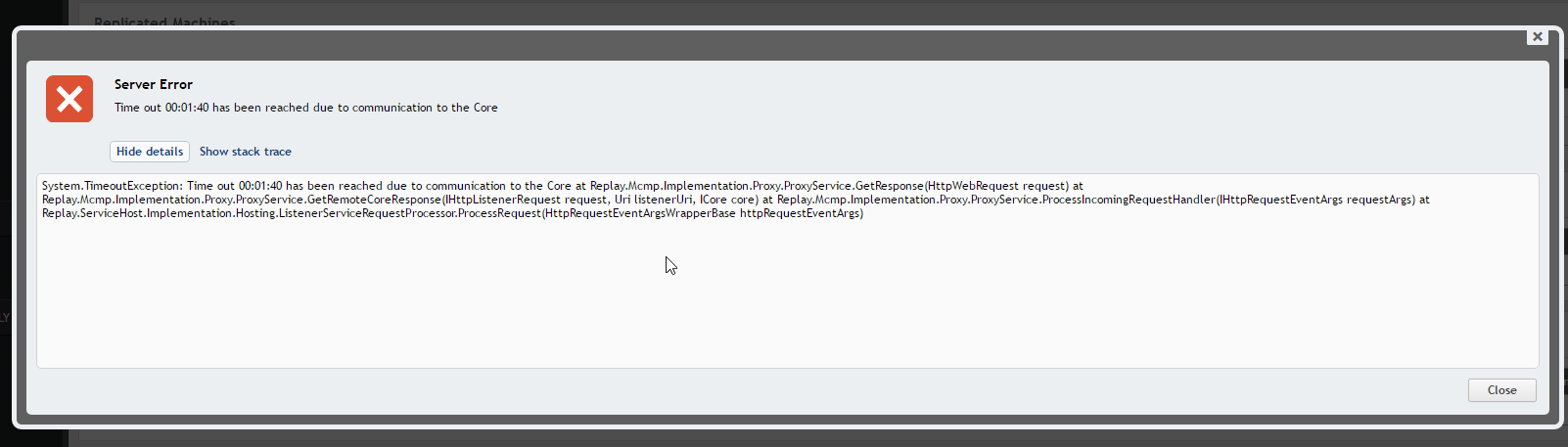 Rapid Recovery 6 1 - Server Error timeouts and how to delete