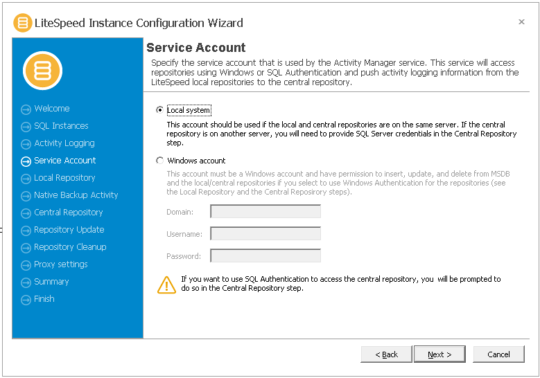 Windows service accounts, litespeed local repository not