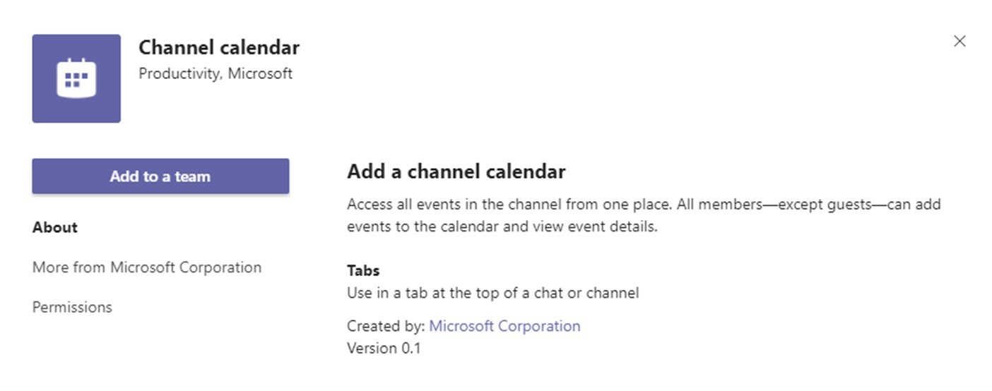 Using Microsoft Teams Shared Calendar- Channel Calendar app to add a channel calendar.