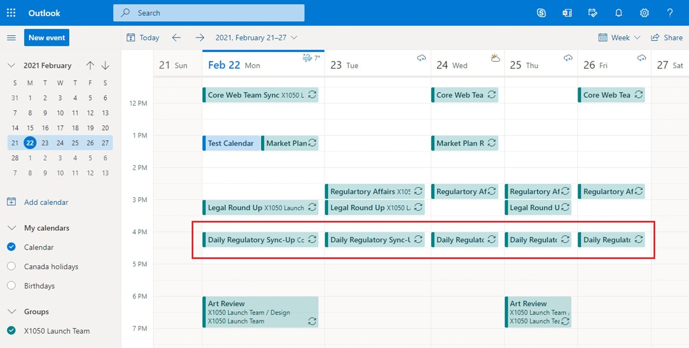 Showing limitations of Microsoft Teams Shared calendar using Outlook web access