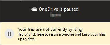Syncing in OneDrive is paused.