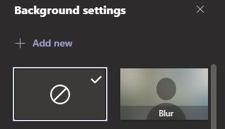 Background settings for  Microsoft Teams