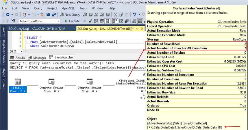 Clustered index seek details in SQL Server