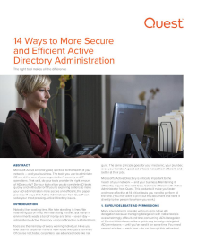 14 Ways to More Secure and Efficient Active Directory Administration