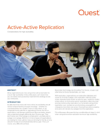 Active-Active Replication: Considerations for High Availability