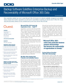 Backup Software Solidifies Enterprise Backup and Recoverability of Microsoft Office 365 Data