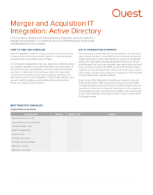 M&A IT Integration Checklist: Active Directory