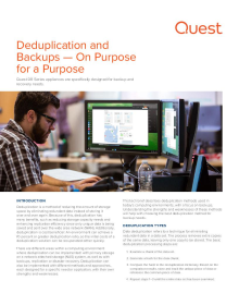 Deduplication and Backups; On Purpose for a Purpose
