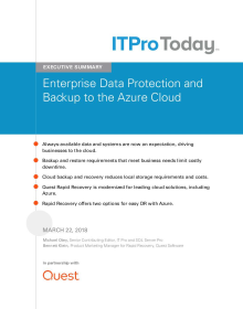 Executive Summary: Enterprise Data Protection and Backup to the Azure Cloud