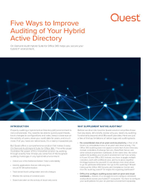 Five Ways to Improve Auditing of Your Hybrid Active Directory