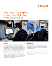 Five Ways Toad Xpert Edition Can Help You Write Better Code.