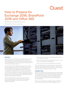 How to Prepare for Exchange 2016, SharePoint 2016 and Office 365: Part 3 - Create Your Disaster Recovery Plan