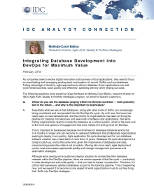 IDC Analyst Connection: Integrating Database Development into DevOps