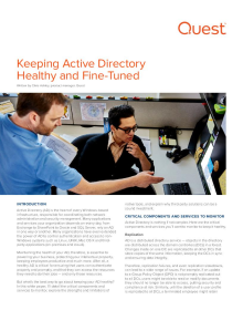 Keeping Active Directory Healthy and Fine-Tuned