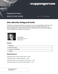 KuppingerCole Report, Executive View: One Identity Safeguard Suite
