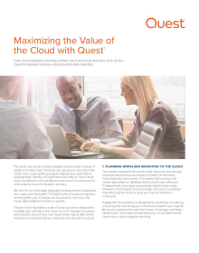 Maximizing the Value of the Cloud with Quest®