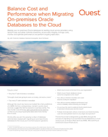 Balance Cost and Performance when Migrating On-premises Oracle Databases to the Cloud