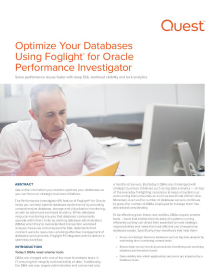 Optimize Your Databases Using Foglight for Oracle's Performance Investigator