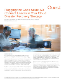 Plugging the Gaps Azure AD Connect Leaves in Your Cloud Disaster Recovery Strategy