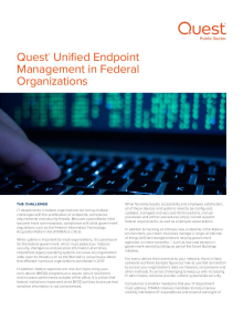 Quest® Unified Endpoint Management in Federal Organizations