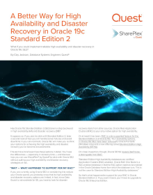A Better Way for High Availability and Disaster Recovery in Oracle 19c Standard Edition 2