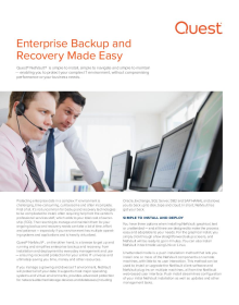 Simplifying Enterprise Backup and Recovery