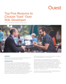 The Top Five Reasons to Choose Toad Over SQL Developer