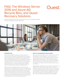 The Windows Server 2016 and Azure AD Recycle Bins, and Quest Recovery Solutions
