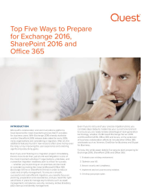 Top Five Ways to Prepare for Exchange 2016, SharePoint 2016 and Office 365