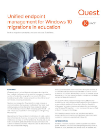 Unified endpoint management for Windows 10 migrations in education