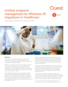 Unified endpoint management for Windows 10 migrations in healthcare