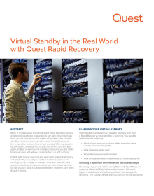 Virtual Standby in the Real World with Rapid Recovery