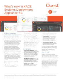 What's new in KACE Systems Deployment Appliance 7.0