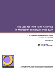 The Case for Third-Party Archiving in Exchange 2010