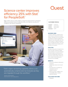 A Health Science Center: Science center improves efficiency 25% with Stat for PeopleSoft