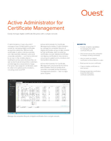 Active Administrator for Certificate Management