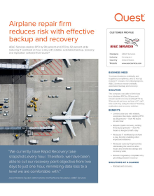 AE&C Services;Airplane repair firm reduces risk with effective backup and recovery