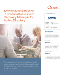 Amway averts millions in potential losses with Recovery Manager for Active Directory