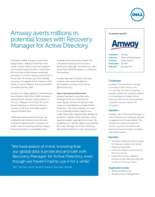 Amway; Amway averts millions in potential losses with Recovery Manager for Active Directory