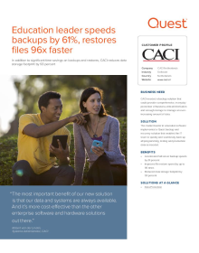 CACI: Education leader speeds backups by 61%, restores files 96x faster
