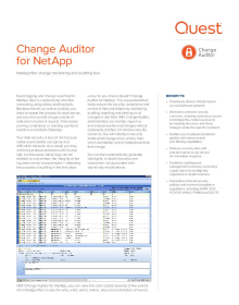 Change Auditor for NetApp