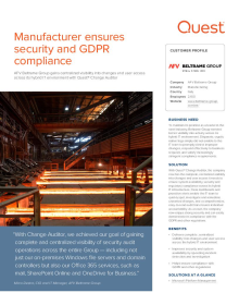 Manufacturer ensures security and GDPR compliance