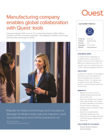 Coats: Manufacturing company enables global collaboration with Quest tools