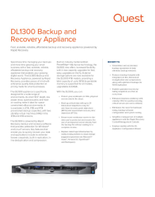 DL1300 Backup and Recovery Appliance