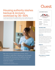 Housing Authority of the Cherokee Nation: Housing authority reduces backup & recovery workload by thirty to fifty percent