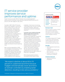 NMA ITC Solutions; IT service provider improves service performance and uptime
